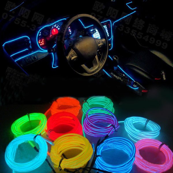 10 Colors DIY Decoration Auto Car Interior LED EL Wire Rope Tube ...