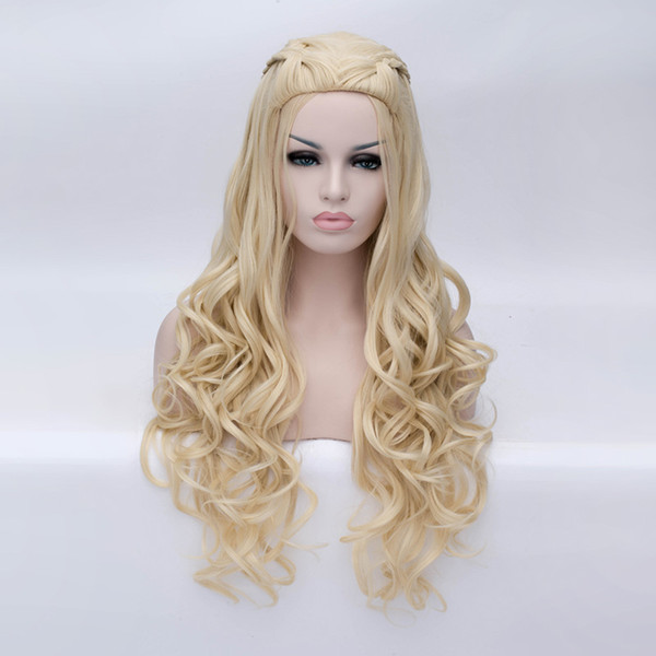 no lace Daily wigs Cosplay Hair Peruca Pelucas High Quality Long Big Wave Wavy Cosplay Synthetic Wig Full Hair Bloned Silver Anime Lolita Wi