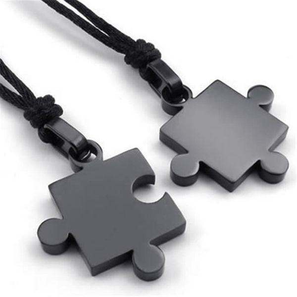 2pcs Mens Womens Couples Stainless Steel Puzzle Pendant Love Necklace Set, Black Silver Factory Wholesale 2017
