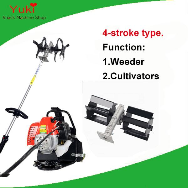 Popular 4 tempos poder weeder máquina + cultivador de diesel lâminas de gasolina máquina de capina máquina de cultivo de mini jardim cultivador leme