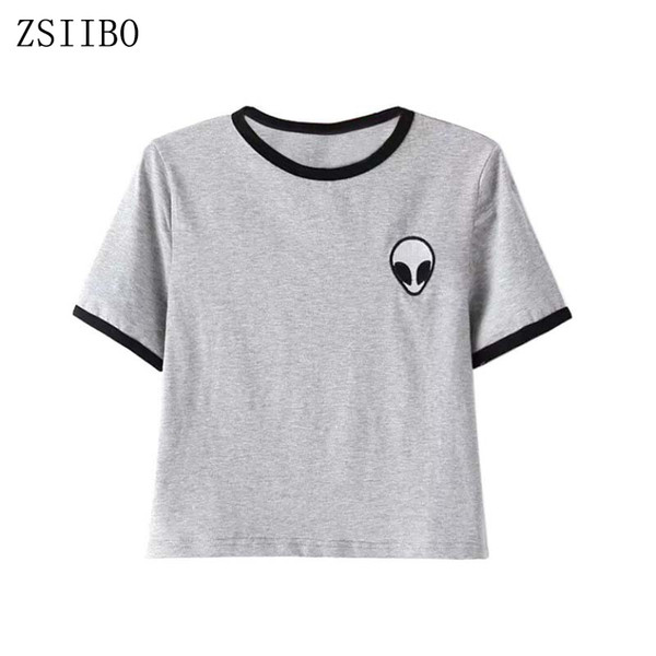 cheap for sale high quality for whole family Wholesale ZSIIBO NVTX10 Alien Printed Clothes T Shirts For Women Tee Shirt  Femme Camisetas Poleras De Mujer Tshirt Female T Shirts Tops Best Funny T  ...