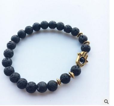 New Design Hot Sale Lava Stone Bracelet, Wholesale Antique Silver Hamsa Blue Evil Eye Jewelry