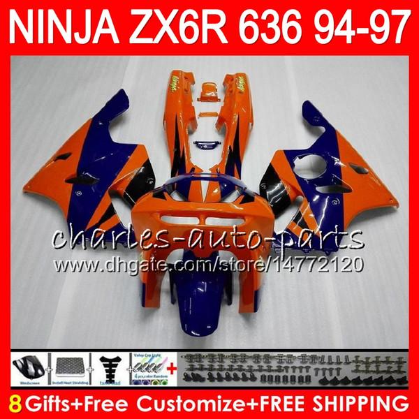 8Gifts 23Colors For KAWASAKI NINJA ZX636 ZX6R 94 95 96 97 ZX-6R ZX-636 orange blue 33NO29 600CC ZX 636 ZX 6R 1994 1995 1996 1997 Fairing kit