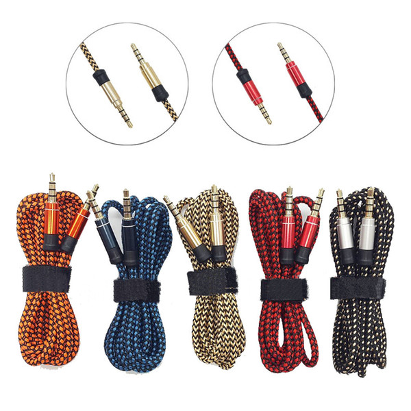 10pcs 5 Colors 1.5M/3M Braided Fabric 3.5mm Male To Male Stereo Audio AUX Auxiliary Cable