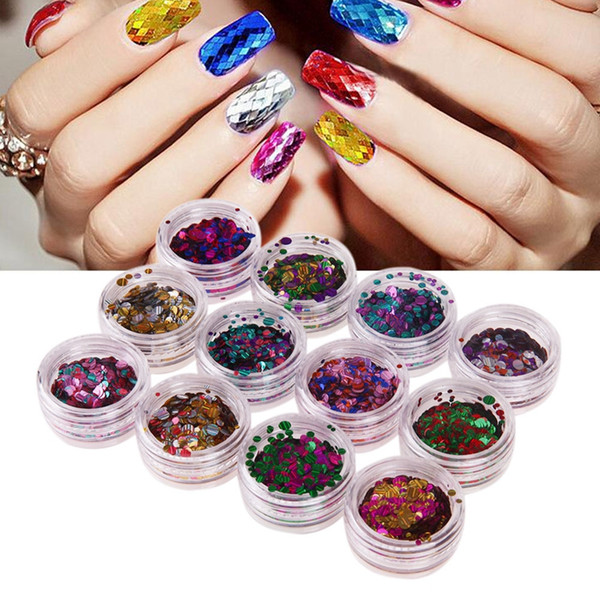 Mixed Colorful Nail Glitter Sequins Decals Round Shiny Nail Sparkle ...