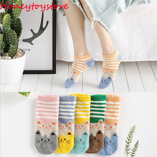50 pairs Women Cotton Cute Funny Sock Cat Cartoon Animal Pattern Casual Short Ankle Socks for women and girl wholesale