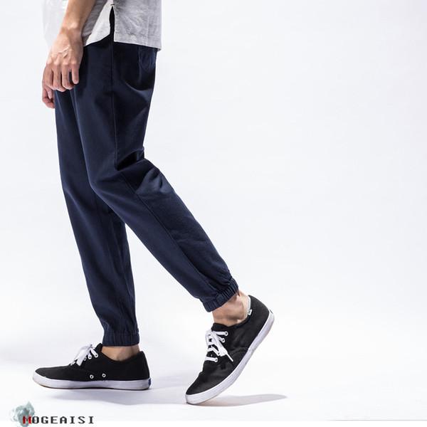 Summer Mens Linen Cotton Capri Pants Lightweight Slim Leg Casual Pants Men Fashion Cotton Pants PT-192