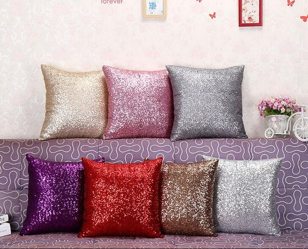 40X40Cm Glitter Sequins Cushion Cover Sofa Pillow Case Home Decor