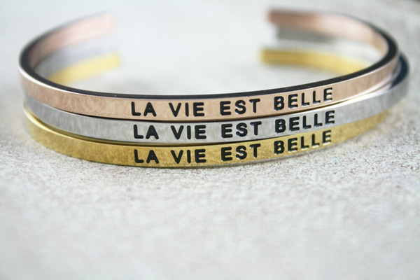 2019 Stainless Steel Engraved Positive Inspirational Quote La Vie Est Belle Hand Stamped Cuff Bracelet Mantra Bangle For Women From