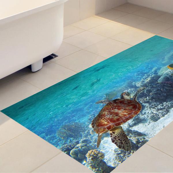 60x120cm Meeresschildkröte Removable 3D Selbstklebende Wandbild Kunst  Decals Twill Film Bodenaufkleber Für Raum Treppen Kinderzimmer Dekor
