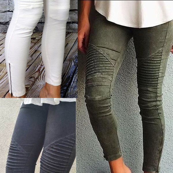 best selling European and American Internet celebrity hot style boutique pleated slimming hips, high elasticity, tight-fitting legs and zipper feet pants