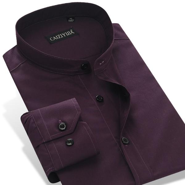 Wholesale- CAIZIYIJIA 2016 Men's Long Sleeve Dark Purple Banded Collar (Mandarin Collar) Dress Shirt Cotton Slim-Fit Solid Formal Shirts