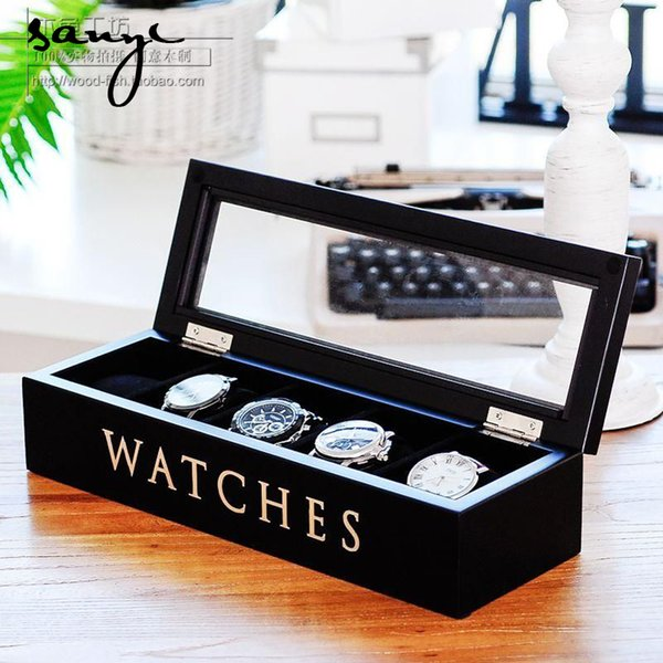 Wood women Watch Box Watch Box Display Box Frame Of Five Black Color Is Optional Travel make up Bag Professional Cosmetic Case