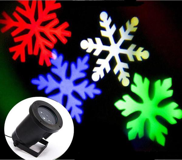 LED RGBW 4LED Película de copo de nieve en movimiento Navidad Navidad Césped Espectáculo Proyector Luz exterior IP65 al aire libre láser luces navideñas lámpara de Navidad