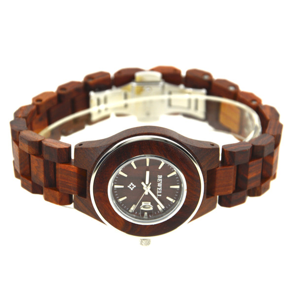 Bewell wooden mujer watch wristwatch quartz watch for women and girls