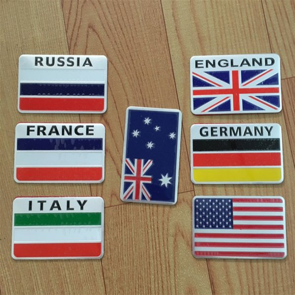 20 PCs / Pack High quality aluminum Russian flag car sticker of French, British, Italian, United States, Germany