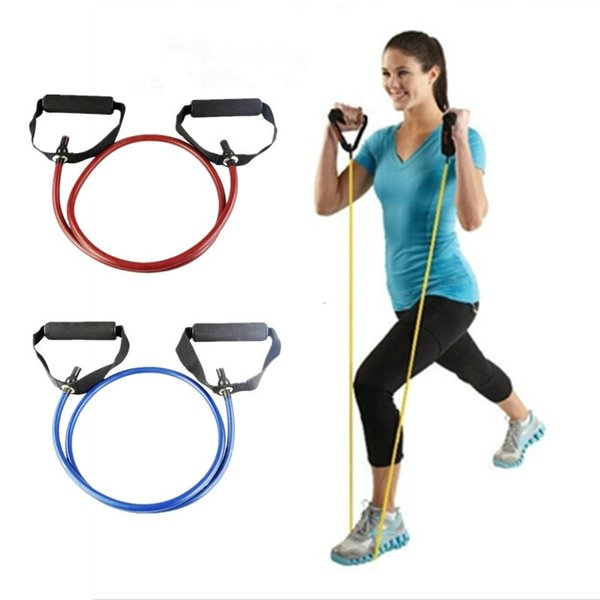 top popular Wholesale 120cm Yoga Pull Rope Fitness Resistance Bands Exercise Tubes Training Elastic Band Rope Free Shipping 2019