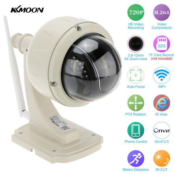 Telecamera IP PTZ wireless KKMOON Outdoor 720P HD 2.8-12mm Zoom 4X CCTV Video Security Telecamera di sorveglianza IP Telecamera Wifi Dome Cam