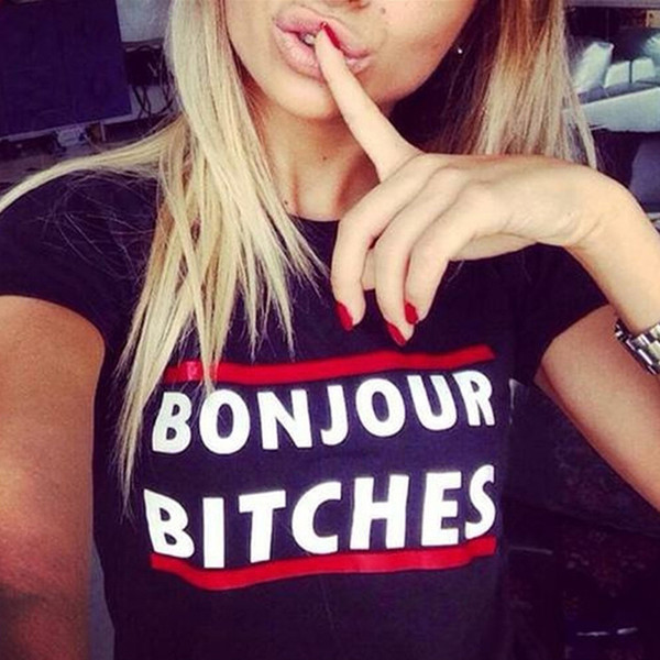 Toptan-kadın kısa kollu tişörtlü üst rahat yaz O-Boyun Bonjour Bitches Mektubu baskı pamuk t shirt üst tee yeni harajuku serseri üst