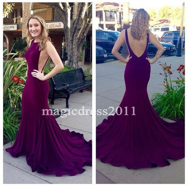 2016 Dark Plum Long Mermaid Prom Dresses Real Sexy Open Back Evening Dress Jewel Sweep Train Formal Party Gowns cheap for sale