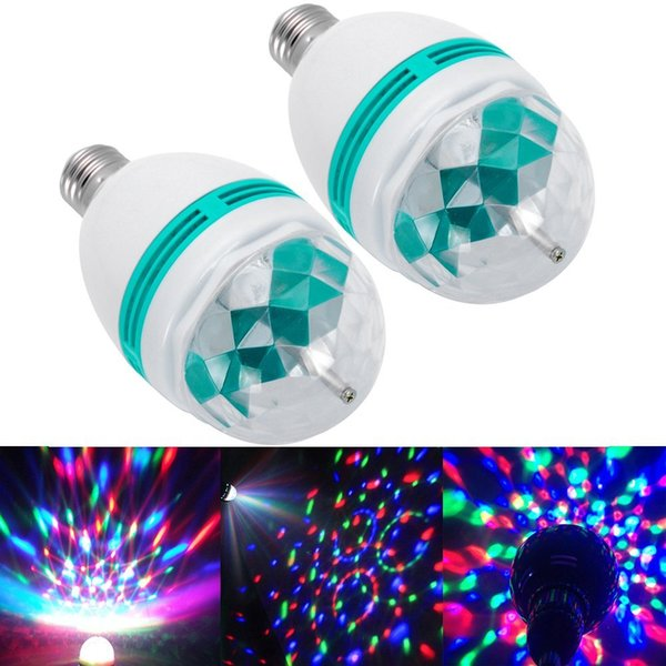 E27 3w Colorful Rotating Stage Rgb Led Light Bulb Xmas Party Disco Dj Lamp Us Auto Crystal Color Ball Club Dj Magic Mode