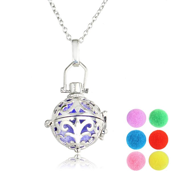 best selling Versatile Sliver Necklace Locket Aromatherapy Essential Oil Diffuser Hollow Necklace perfume pendant Flower-Hollowed Drop Shipping Wholesale