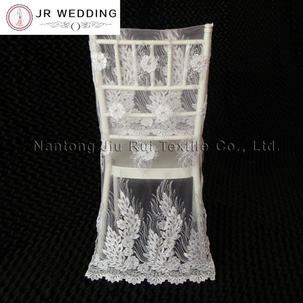 10pcs Free Shipping Gold/White Embroidered Lace Chair Cover Sequin Shiny Lace Chair Cover For Top Chiavari Wedding Decoration