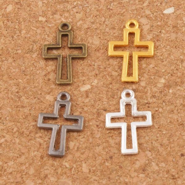 Hollow Cross Charm Beads Pendants 300pcs/lot Silver/Gold/Gun Black 17x10.5mm 4colors L422 Fashion Jewelry DIY