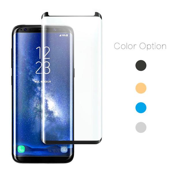 S7 Edge case amistoso vidrio templado para Samsung Galaxy S9 S9 Plus 3D película protectora curva para Galaxy Note 8 protector de pantalla paquete al por menor