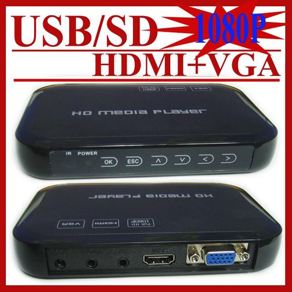 Wholesale- JEDX Car media player USB Full Hd 1080p HDD Media Player Hdmi VGA MKV H.264 HD601 Included 8G U Disk Drive+Car adapter