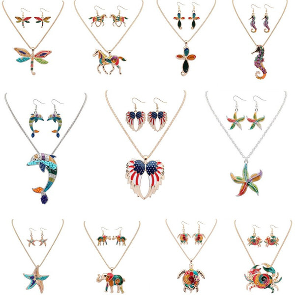 top popular Fashion 2pcs set Jewelry Sets Earrings & Necklace Bohemian Alloy Enamel Elephant Wing Dolphin Sea Horse Starfish Animal For Women Party 2021