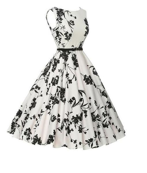 2017 summer hot style Hepburn wind restoring ancient ways is 50 s closed posed dress show thin waist belt