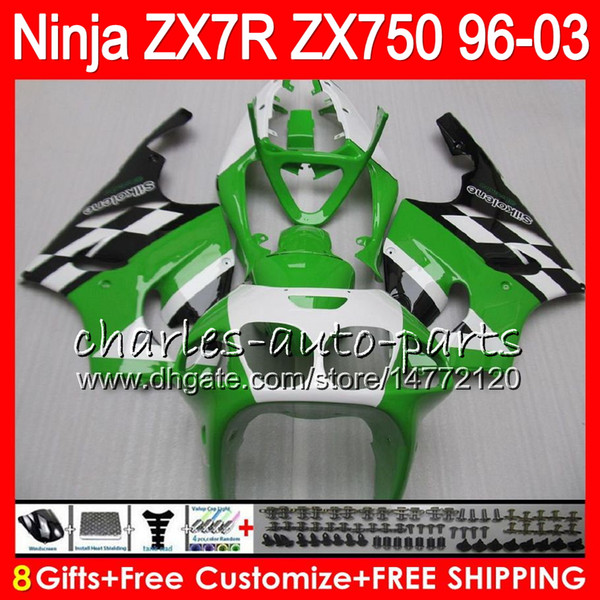 8Regalos 23Colores para KAWASAKI NINJA ZX7R 96 97 98 99 00 01 02 03 18HM10 ZX750 Stock verde ZX 7R ZX-7R 1996 1997 1998 1999 2000 2003 Carenado