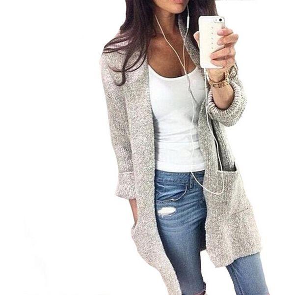 Wholesale-2016 Fashion Autumn Winter Women Long Sleeve loose knitting cardigan cardigan sweater Womens Knitted Female Cardigan