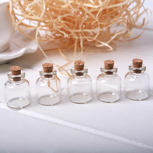 Wholesale- 5pcs / Lot Tappo di sughero Piccola bottiglia di vetro Minuscole barattoli di vetro con sughero Decorativo desiderio di vetro vasi fiale per la decorazione 22x28mm MD686
