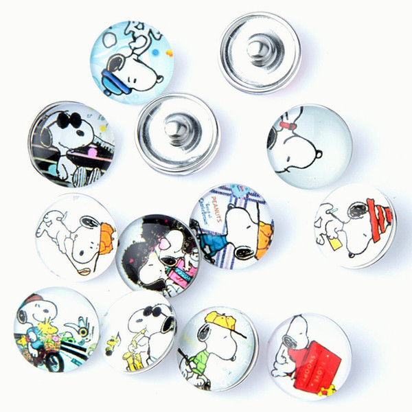 10pcs / lot Mixed couleur chien de bande dessinée bouton 18mm Bouton pression en verre Bijoux en verre Snap Fit bouton-pression Bracelet Pour femmes