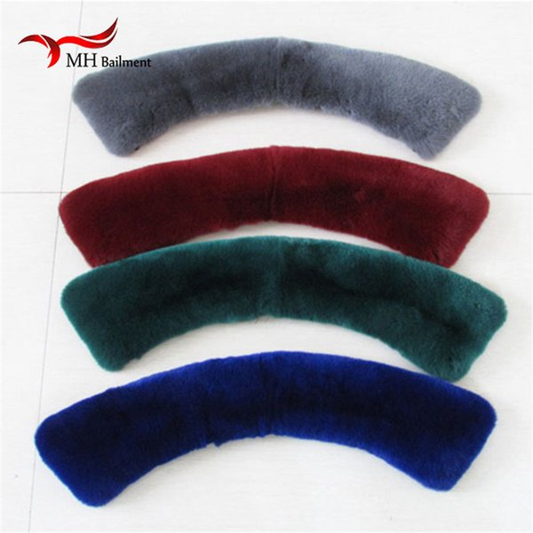 Wholesale- 100% Real Rex Rabbit Fur Collar Square Collar Men Women's Genuine Leather Women Fashion Fur Scarves L#4
