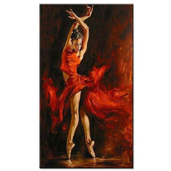 dipinto a mano sexy ballerino di danza su tela rosso vestito spagnolo ragazza danza pittura a olio su tela per soggiorno