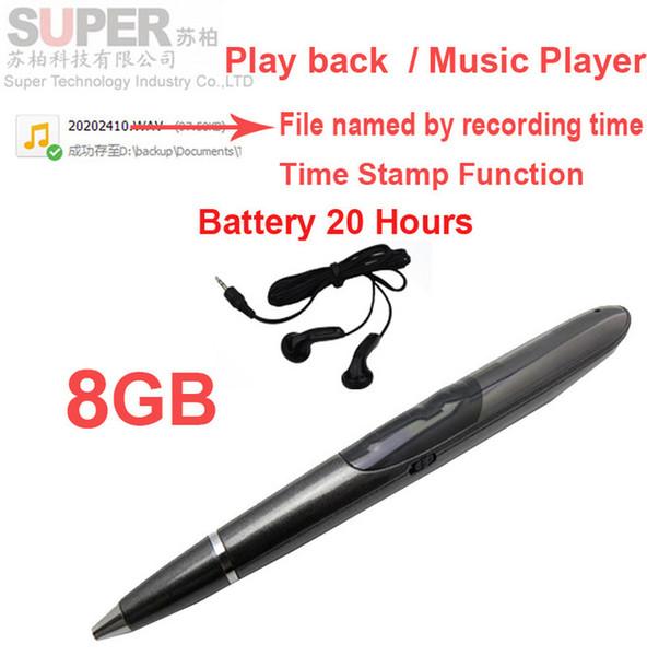 Vendita all'ingrosso- Lettore musicale da 8 GB S1 Registratore vocale per lettore MP3 con batteria con attivazione del timbro temporale 20H funziona con lettore di memoria flash