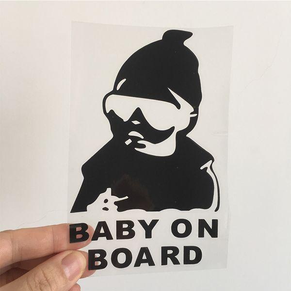 1 adet 14 cm * 9 cm Bebek Gemide Araba Sticker Çıkartma Su Geçirmez Gece Yansıtıcı Sticker Araba Çıkartmaları Otomobil Çıkartmaları