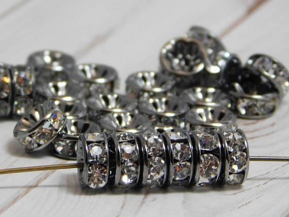 top popular TOP quality!50 PCS Gunmetal With Clear Crystal Rondelle Rhinestone Beads Brass Spacer Wholesale Findings Jewelry Supplies in 8mm 2021
