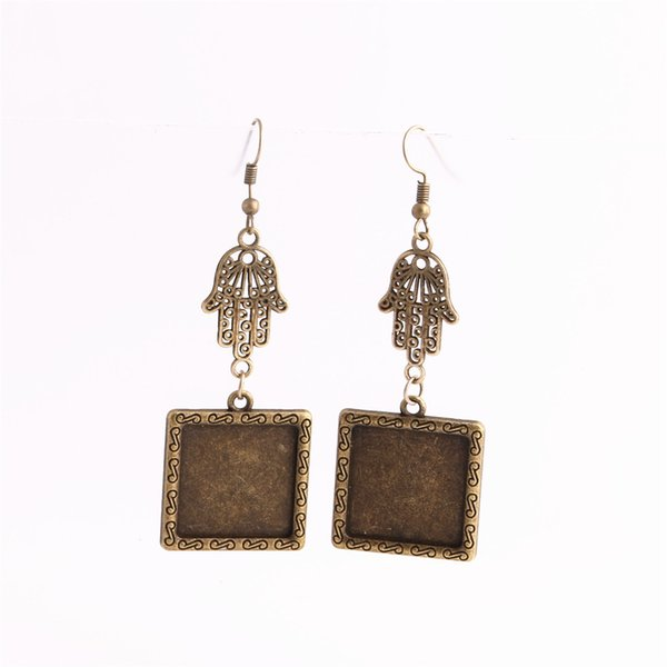 SWEET BELL 12pcs/lot Metal Alloy Zinc Hamsa Hand Charm Fit Square 20mm Cabochon Set Pendant Drop Earing Jewelry Making C0811