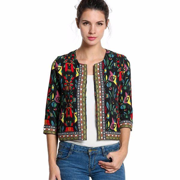 Spring Autumn Long Sleeve Crop Cardigan Suit Vintage Ethnic Women Basic Coat Female Floral Jacket Lady Outerwear Manteau Femme