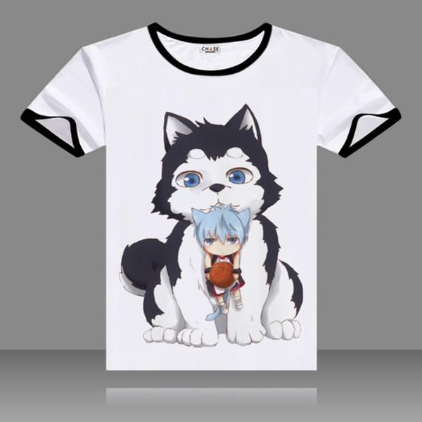 2017 T-shirts Kuroko no Basket Cosplay Black O-Neck Short Sleeve Costumes Kuroko Tetsuya Print Tops Casual Summer Tees