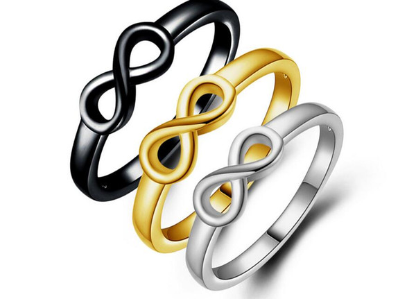 fashion Man woman Ring Infinity 8 words silvery black Golden Ring Lovers ring Size US6-US10 free shipping 10pcs/lot