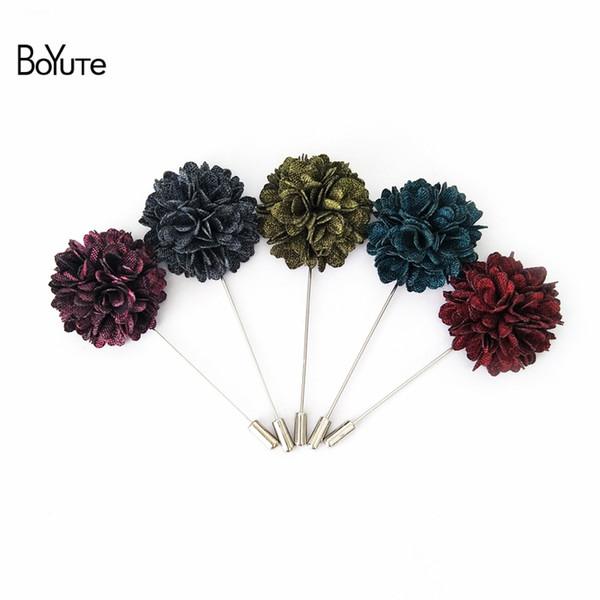 BoYuTe 10Pcs High Quality Suit Flower Lapel Pin 11 Colors Men Brooch Pins Wedding Boutonniere Fashion Jewelry