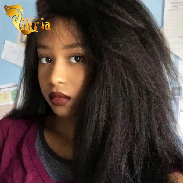 Kinky Straight Long Human Hair Wigs Brazilian Virgin Hair Full Lace Wigs With Baby Hair Indian Malaysian Peruvian Wigs For Black Women