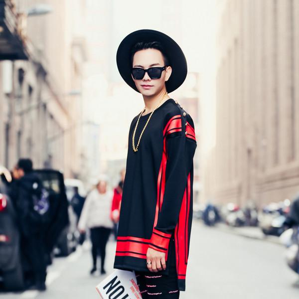 New Men Pullover Sweatshirt Red Print Stripe Men Long Sleeve Hoodie Male High Street Fashion Hip Hop Sweatshirt