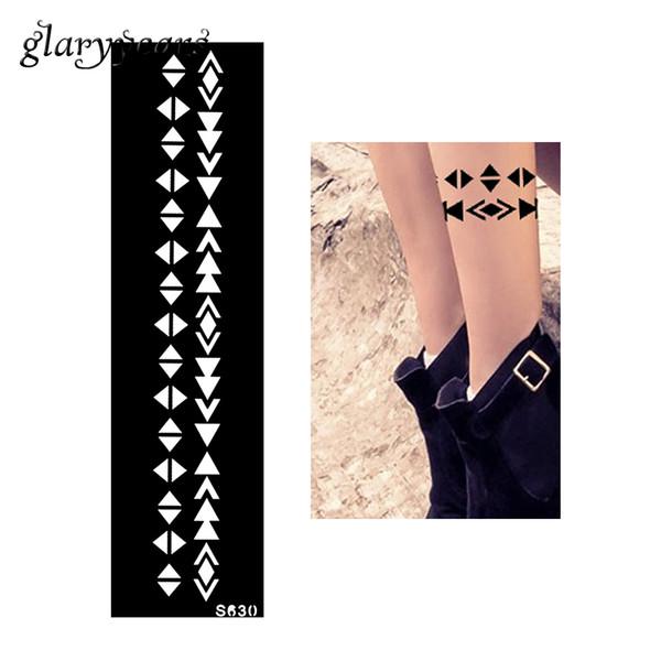 Großhandel-Neue 1 Stück indische hohle Henna Tattoo Schablone Armband Kette Streifen Muster Design DIY Frauen Body Art Gesundheit Tattoo Schablone S630