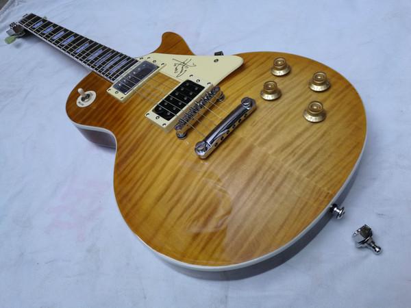 Jimmy Page limone scoppiare chitarra custom shop 1959 tigre tigre gialla fiammato acero top chitarra elettrica chitarre chibson nuovo arrivo